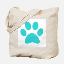 Turquoise Paw print Tote Bag