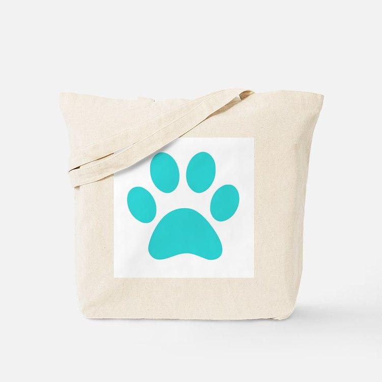 Turquoise Paw print Tote Bag