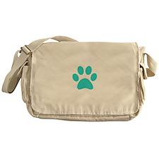 Turquoise Paw print Messenger Bag