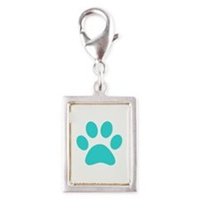 Turquoise Paw print Charms