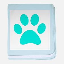 Turquoise Paw print baby blanket