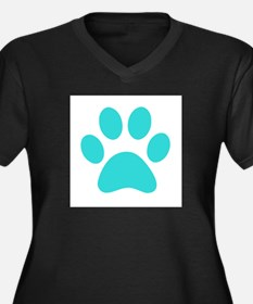 Turquoise Paw print Plus Size T-Shirt