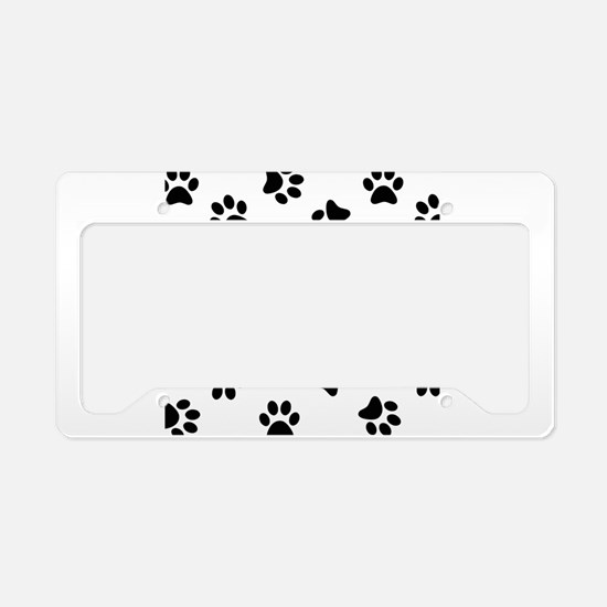 Black Pawprint pattern License Plate Holder