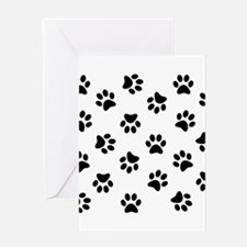 Black Pawprint pattern Greeting Cards