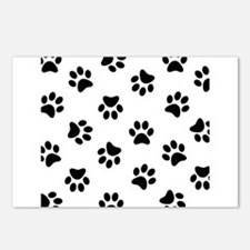 Black Pawprint pattern Postcards (Package of 8)