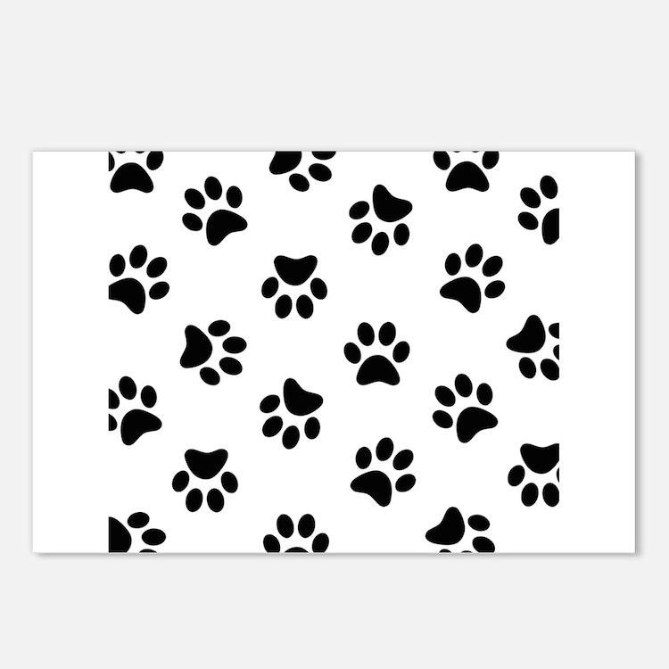 Black Pawprint pattern Postcards (Package of 8)