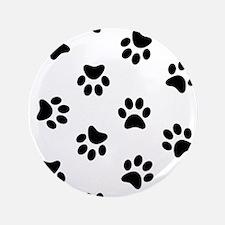 "Black Pawprint pattern 3.5"" Button (100 pack)"