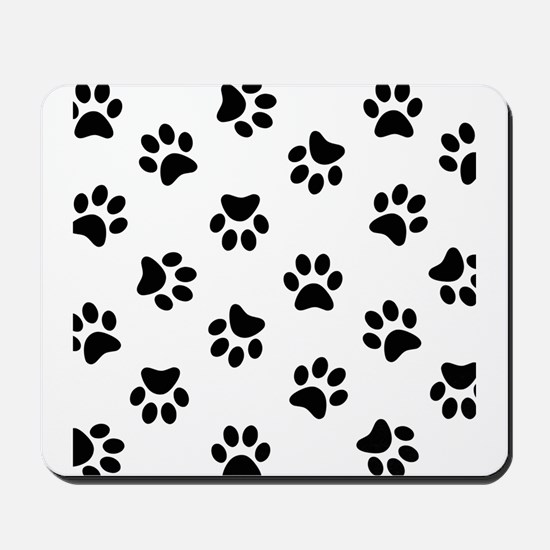 Black Pawprint pattern Mousepad