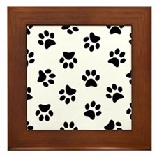 Black Pawprint pattern Framed Tile