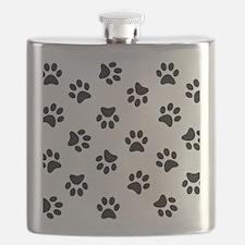 Black Pawprint pattern Flask