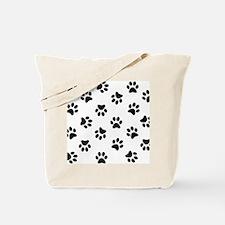 Black Pawprint pattern Tote Bag