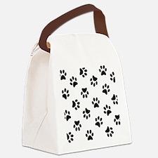 Black Pawprint pattern Canvas Lunch Bag
