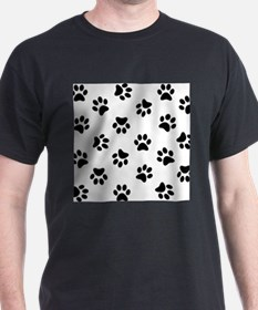 Black Pawprint pattern T-Shirt