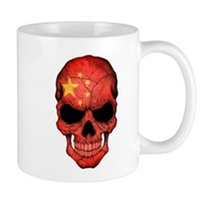 Chinese Flag Skull Mugs