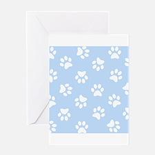 Light Blue Pawprint pattern Greeting Cards