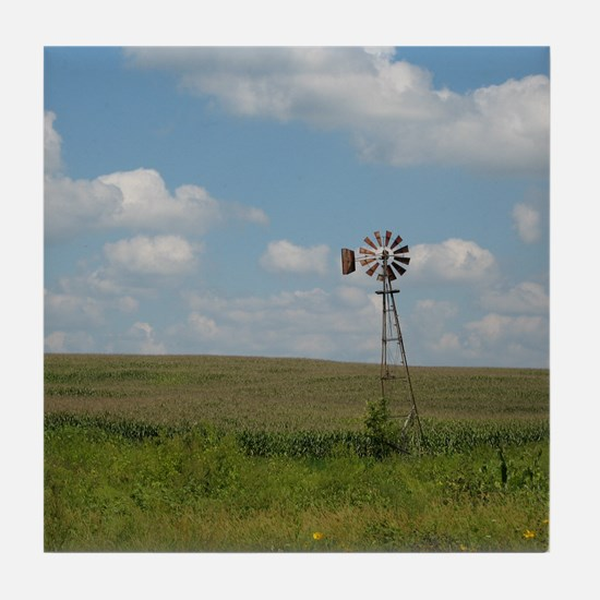Tile Coaster with photo of windmill in a field