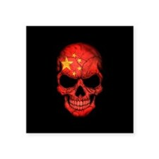 Chinese Flag Skull on Black Sticker