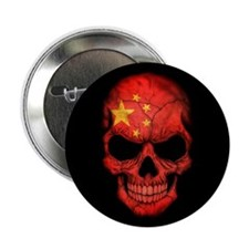 """Chinese Flag Skull on Black 2.25"""" Button (100 pack"""