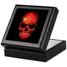 Chinese Flag Skull on Black Keepsake Box