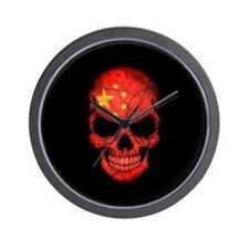 Chinese Flag Skull on Black Wall Clock