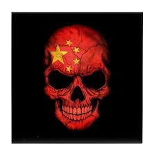 Chinese Flag Skull on Black Tile Coaster