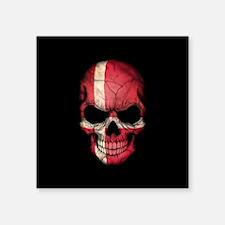 Danish Flag Skull on Black Sticker