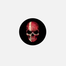 Danish Flag Skull on Black Mini Button (10 pack)