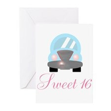 Sweet 16 Baby Blue Car Greeting Cards