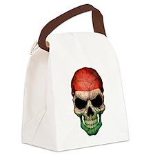 Hungarian Flag Skull Canvas Lunch Bag
