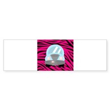 Blue Car on Hot Pink Zebra Stripes Bumper Bumper Sticker