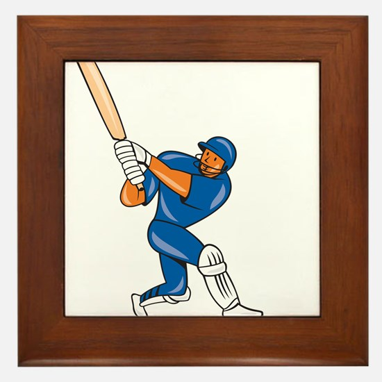 India Cricket Player Batsman Batting Cartoon Frame