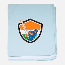 India Cricket Player Batsman Batting Shield Cartoo