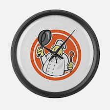 Fat Buddha Chef Cook Holding Pan Circle Cartoon La