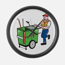 Street Cleaner Pushing Trolley Cartoon Isolated La