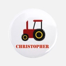 """Personalised Red Tractor 3.5"""" Button"""