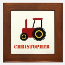 Personalised Red Tractor Framed Tile