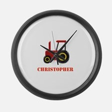 Personalised Red Tractor Large Wall Clock
