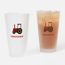 Personalised Red Tractor Drinking Glass