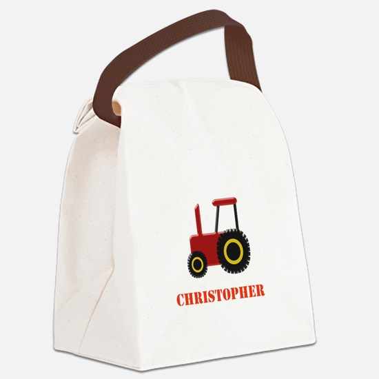 Personalised Red Tractor Canvas Lunch Bag