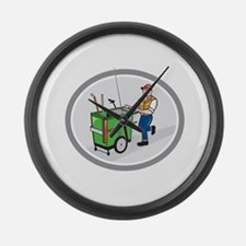 Street Cleaner Pushing Trolley Oval Cartoon Large