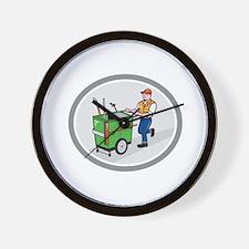 Street Cleaner Pushing Trolley Oval Cartoon Wall C