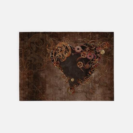 Steampunk Heart 5'x7'Area Rug