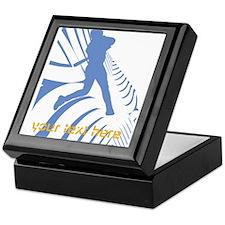 Personalize Sport Blue Baseball Logo Keepsake Box