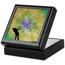 Green Tie Dye Golfer Silhouette Keepsake Box