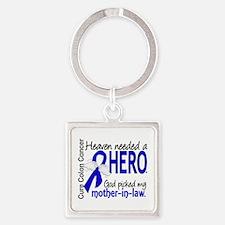 Colon Cancer HeavenNeededHero1.1 Square Keychain