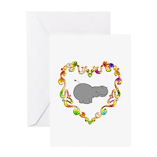 Fancy Heart Hippo Greeting Card