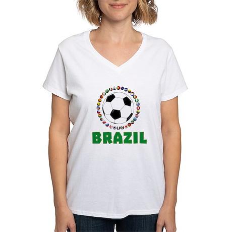 Brazil soccer 2014 women 39 s v neck t shirt brazil soccer for Womens brazil t shirt