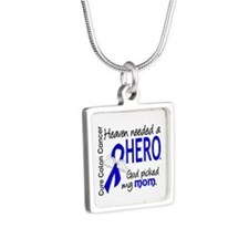 Colon Cancer HeavenNeededH Silver Square Necklace