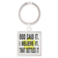 God Said It Yellow Flower Square Keychain