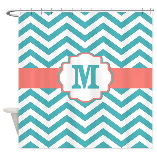 teal coral chevron monogram shower curtain by